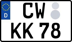 Vorgang zum Wunschkennzeichen in Calw