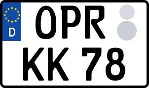 Vorgang zum Wunschkennzeichen in Ostprignitz-Ruppin